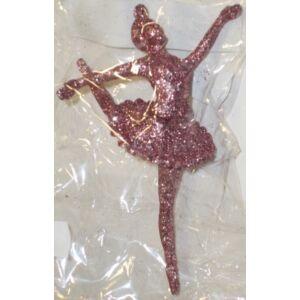 Karácsonyi dísz balerina glitteres ezóüst, fehér, rózsaszín