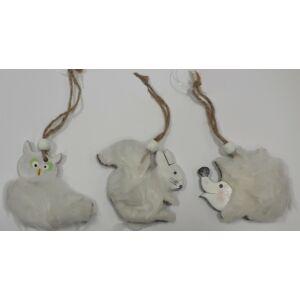 Karácsonyi dísz fa figurás sün, bagoly, mókus