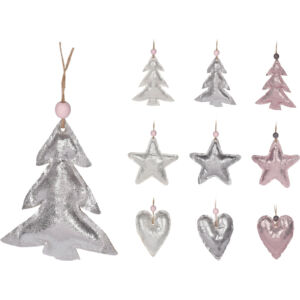 Karácsonyfa 9cm dísz fényes textil 9mintával