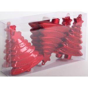 Karácsonyi dísz fenyő 9cm Piros, matt metál és selyemfényű. (6db/csom) 458076