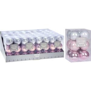 Karácsonyi 6cm gömb 12db-os szett pink fehér