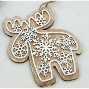 Karácsonyi ajtódekor mézeskalács hatású 14cm fa rénszarvas Karácsonyi dekoráció