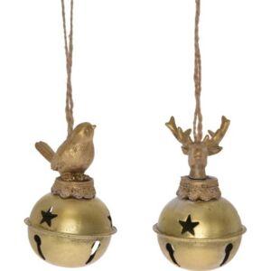 Karácsonyi csengettyű akasztós madárkával/szarvasfejjel arany színű kötöző zsineggel Karácsonyi dekor 2féle