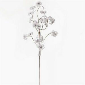 Karácsonyi dekor ág 20' Virágos ág havas fehér