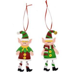 Karácsonyi dekor akasztós Manó fiú/lány 6x1, 2x12cm agyag zöld-piros 2féle