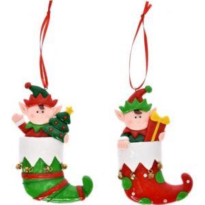 Karácsonyi dekor akasztós Manócsizma kismanós 8x1, 2x13cm agyag zöld-piros 2féle