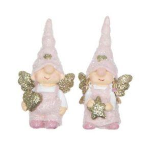 Karácsonyi dekor angyal 21' manó sapkában glitteres poly 2 féle 3,5x2,5x7cm rózsaszín,arany