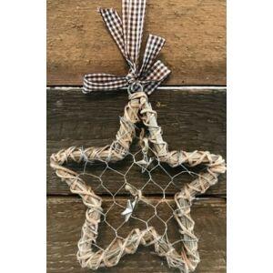 Karácsonyi dekor csillag 15cm Natúr rattan hatású drótos dísz Karácsonyi ajtó-fenyő dekoráció