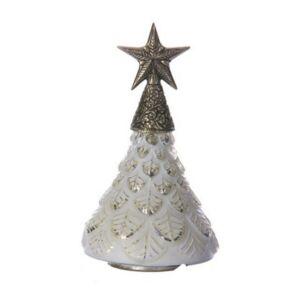 Karácsonyi dekor fenyőfa 20' Fenyőfa üveg/fém csillaggal 17x17x28cm