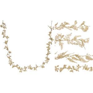 Karácsonyi dekor girland 170cm 4féle típusban, arany színben Karácsonyi fenyőfadísz dekor