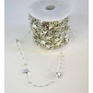 Karácsonyi dekor gyöngy fűzér ezüst csillag+gyöngy (42, 6m/tekercs) Karácsonyi dekor girland fűzér