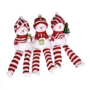 Karácsonyi dekor hóember 20' fenyővel/ajándékkal/dísszel lógólábú pol 5,5x4,5x17 piros,fehér 3 féle