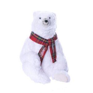 Karácsonyi dekor jegesmedve 20 sállal ülő hungarocell/szövet 21x24x34 fehér