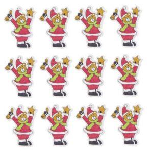 Karácsonyi dekor medve 20' jelmezben fa 4x3cm zöld, piros, fehér