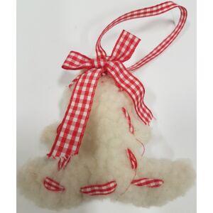 Karácsonyi dekor műszőrme fenyőfa akasztós 8cm piros/fehér1