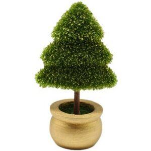 Karácsonyi dekor növény 15cm műanyag örökzöld arany dekorral thuja fenyő cserépben