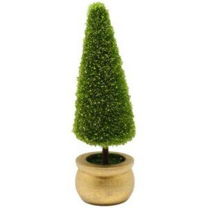 Karácsonyi dekor növény 19cm műanyag örökzöld arany dekorral thuja fenyő cserépben