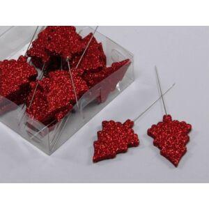 Karácsonyi dekor pick 5cm betűzős fenyő piros glitteres S/24 Karácsonyi fenyőfa dekoráció