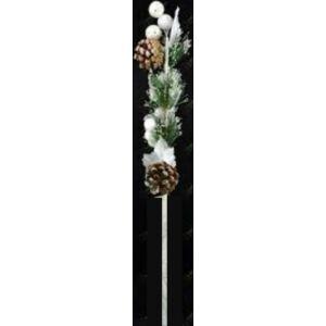 Karácsonyi dekor pick ág 60cm havas-bogyós-tobozos-glitteres ág Karácsonyi pick ág dekoráció