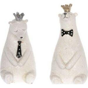 Karácsonyi dekor poly 20' jegesmedve koronával glitteres ülő 4x4,5x8,5cm fehér 2féle