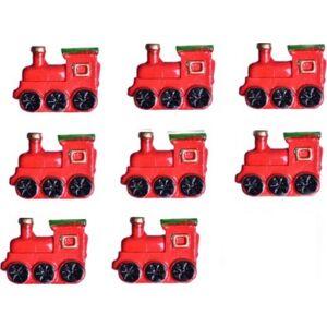 Karácsonyi dekor poly 2,5x2cm 2,5x2cm mozdony piros öntapadós Karácso Karácsonyi dekorációk (8db/csom)