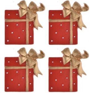 Karácsonyi dekor poly 3x3,5cm Ajándékdoboz piros-arany színű öntapadós Karácsonyi dekoráció (4db/csomag)