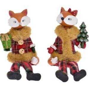 Karácsonyi dekor róka 6,5x3x15,5cm piros kockás ruhában 2fél 2féle karácsonyi dekoráció