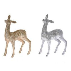 Karácsonyi dekor szarvas 20' glitteres álló hungarocell 22,5cm ezüst arany 2 féle