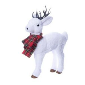 Karácsonyi dekor szarvas 20' sállal álló hungarocell/szövet 35x17x52 fehér