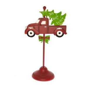 Karácsonyi dekor tábla 20' teherautóval fém 27x15,5x46,5cm piros