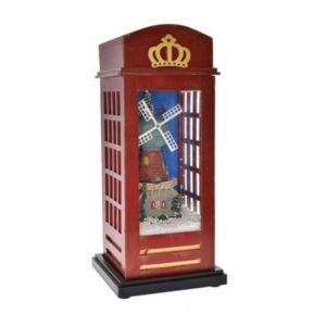 Karácsonyi dekor telefonfülke világító, havazó, zenélő műanyag 15x15x34,5cm barna
