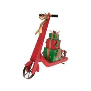 Karácsonyi dekoráció 20' Robogó ajándékkal fém 46x14x38cm