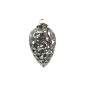 Karácsonyi csepp akasztós üveg 5x8cm ezüst antik