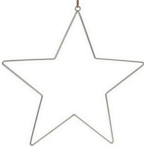 Karácsonyi csillag akasztós fém 38cm ezüst