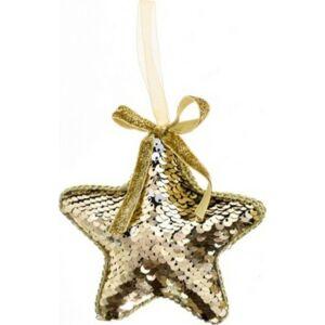 Karácsonyi csillag akasztós flitteres hungarocell 12cm aran