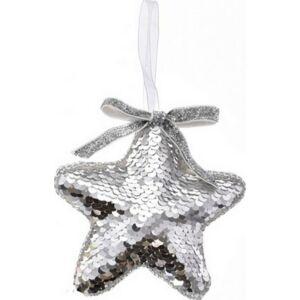 Karácsonyi csillag akasztós flitteres hungarocell 12cm ezüs