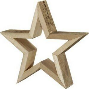 Karácsonyi csillag akasztós lyukas fa 60x7cm natúr