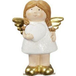 Karácsonyi dekoráció angyal 20 szívvel álló agyag 12cm fehér/ar