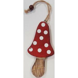 Karácsonyi dekor gomba hosszúkás gomba piros pöttyös 190