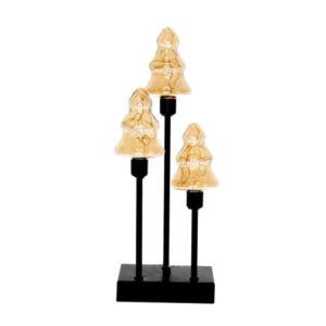 Karácsonyi világító fenyőfa 3db üveg, fém, LEDes, elemes 12x7x33,5cm arany/fekete