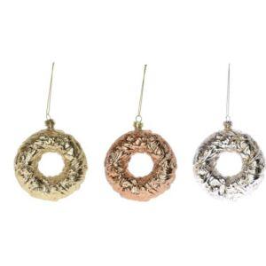 Karácsonyi 10cm dísz Fánk műanyag 10x3, 4x10cm arany/ezüst/bron 3féle