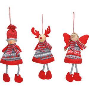 Karácsonyi dísz felakasztós 20 textil 3féle piros szürke fenyőfadísz exkluzív termék