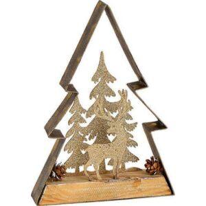 Karácsonyi dísz 3D fenyőfa 20' rénszarvas erdőben fából fémből 14x25x3 kézi festéssel exkluzív termék