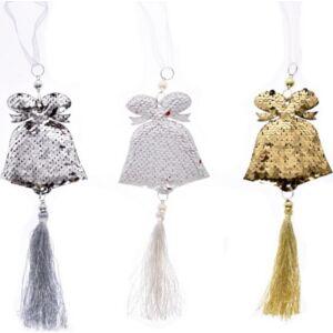 Karácsonyi dísz harang 35cm flitteres, bojttal, akasztós műanyag ezüst-piros, fehér-piros simogatós