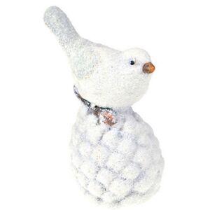 Karácsonyi dísz madár fehér terrakotta 6,5x5,5x11cm