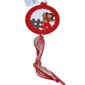Karácsonyi fa ajtó dekoráció 1 angyalka - MACI dekoros gömb Karácsonyi ajtó-ablak dekor dísz