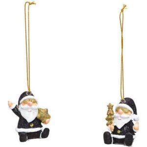 Karácsonyi figura 20' 2féle mintával fekete arany 5x4x3cm kézzel festett exkluzív termék