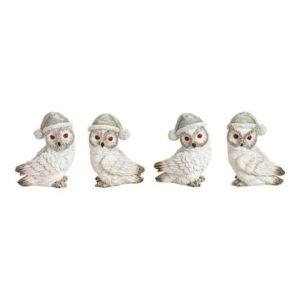 Karácsonyi figura 20' 4mintában fehér madárkák 6x8x3cm exkluzív termék