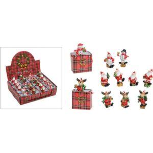 Karácsonyi figura 20' tasakba 5cm rénszarvas, mikulás, hóember