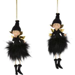 Karácsonyi figura angyal tollszoknyában, akasztós poly 6x6x14,5c fekete 2 féle